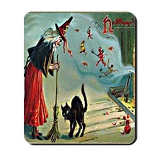 xcvnxtgndx Vintage Halloween Witch Cat Mousepad - Non-Slip Rubber Mousepad, Gaming Mouse Pad