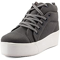 Tashi Women Girls Canvas Grey Heel Sneakers
