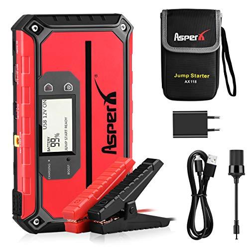 AsperX Auto Starthilfe 1000A 18000mAh Jump Starter, Starthilfe Powerbank zum 12V Autobatterie Anlasser mit USB-Schnellladung 3.0, LED Taschenlampe(bis zu 7.5L Benzin, 5.5L Diesel) (Black-B)