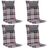 Kettler Polen 4X K001 Gartenpolster mit Kopfkissen in grau kariert Sessel Auflagen Polster Kissen