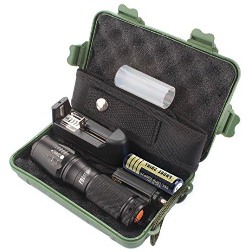 Torche Lampe de Poche ,Moonuy 5000 Lumens Lampe de poche tactique X800 zoomable T6 LED lampe de poche Super Bright militaire de grade étanche titulaire Torche 5 Modes+18650 Batterie rechargeable Tube (Noir)