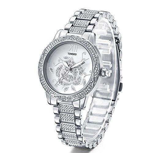 Time100 W80104L.01A Lujo Sweet Patrón de flores rosa diamantes pulsera cuarzo Mujer Reloj