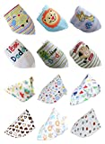 Norcci 12er Baby Kinder Cartoon Baumwolle Dreieckstuch Lätzchen Babylätzchen Halstuch Mit Druckknöpfen Multifunctional (für Jungen)