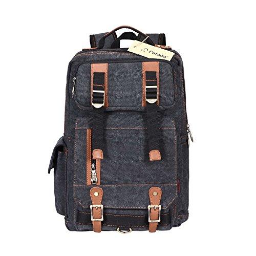Imagen de fafada bolso lona  saco de viaje macuto bolso de la computadora bolsa de libros negro