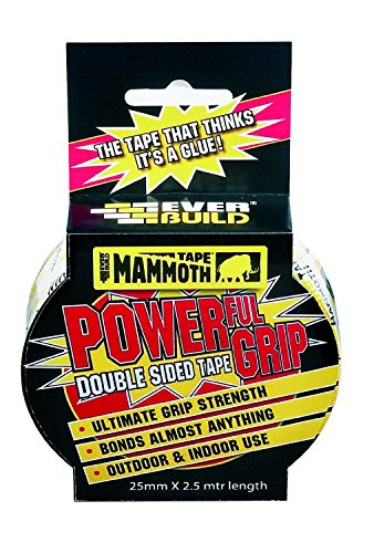 Everbuild Mammoth PowerGrip doppelseitiges Klebeband klar 50 mm x 2,5 m Originalverpackung