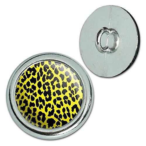 Leopard-taste (Metall Craft Nähen Neuheit Tasten–Set von 4–Leopard Animal Print, metall, gelb)