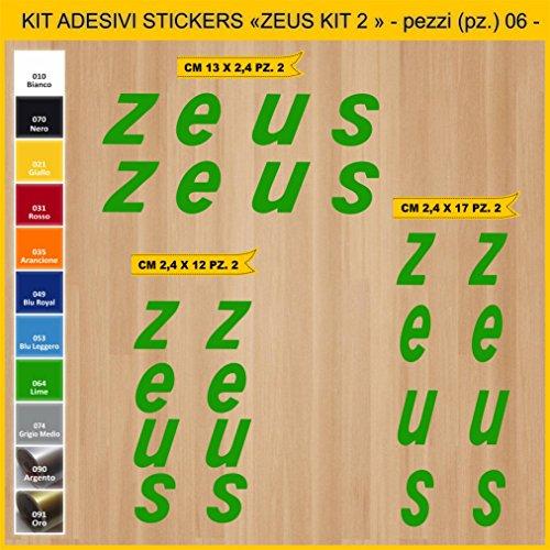 Kit Pegatinas Stickers Bicicleta ZEUS KIT 2-06 piezas- Bike Cycle Cod. 0908 (064 VERDE LIME)