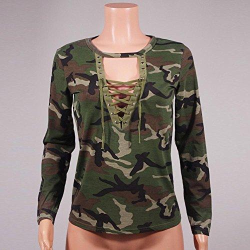 WOCACHI Damen Blusen Mode Frauen Tops Langarm-Shirt dünne beiläufige Bluse Camouflage Print Blusen Camouflage