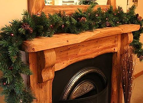 Best Artificial 9m (2,7m) Guirlande de Noël de luxe avec 16pommes de pin Plus 30Rouge étanche Batterie LED d'intérieur Noël 215Pointes