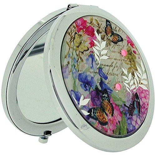 Specchietto compatto placcato argento, & Butterfly Flower, con zirconia cubica a SC1005 Specchio doppio compatto
