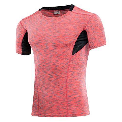 Männer Big & Tall Kurzarm Feuchtigkeit Wicking Athletic T-Shirts (US(XL)-XXL(CN)-Rot) (Big Xxl Tall And Shirt)
