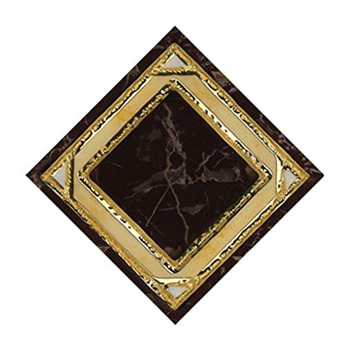 Mengonee 10pcs GoldRetro- Blumen-Fußboden-Fliesenaufkleber Boden Abziehbilder Wohnzimmer Washroom Dekor Wasserdicht (Stick Fliesenboden)