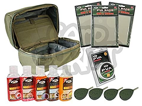 Carp Fishing Tackle Multi Purpose Bag With 5 Leads 5 Bait Glugs PVA String & Bags Made By NGT