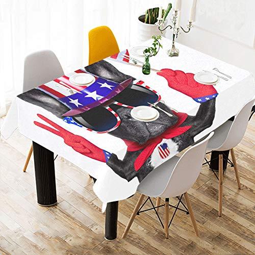 Lustige französische Bulldogge mit niedlicher Geste Baumwolle Leinen gedruckt Platz Fleck beständig Tischwäsche Tuch Abdeckung Tischdecke für Küche Home Esszimmer Tischplatte Dekor 60 x 84 Zoll