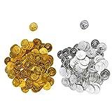 Fenteer 200pcs Piraten Spielzeug Münzen Goldmünzen Silbermünzen Spielzeug für Kinder