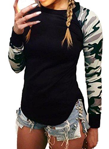 Minetom Damen Herbst Winter Camouflage Rundhals Langarm Hemd Shirt Lässige Bluse Tops Camouflage DE 46 (2 Pocket-leinen-tunika)