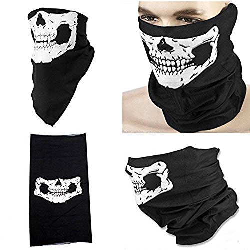 Dp design bandana scaldacollo sotto casco teschio per moto softair sci bici ghost skull