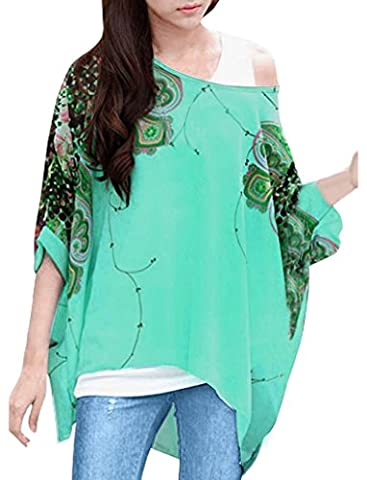 Nicetage Women Boho Chiffon Striped Floral Shirt Casual Batwing Blouse Hippie Semi Sheer Loose Batwing Sleeve T-shirt Tops Green