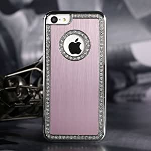 G4GADGET® Iphone 5C Deluxe Pink brushed aluminum diamond case bling cover for iphone 5C