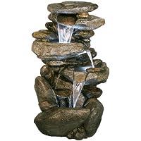 Fuente Cascada de Agua Decorativa Thornton. Efecto Roca. Con luces