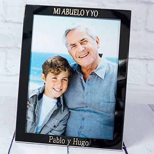 calledelregalo Regalo Personalizado para Toda la Familia: Marco de Fotos Plateado Grabado con el Texto Que tú Quieras