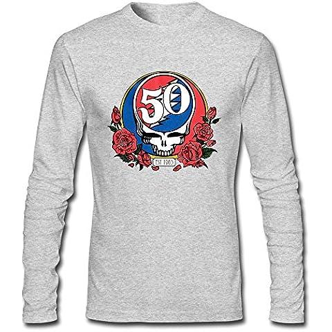 Men's Rose Memery Grateful Dead & Skull Roses-Maglietta per 50° compleanno
