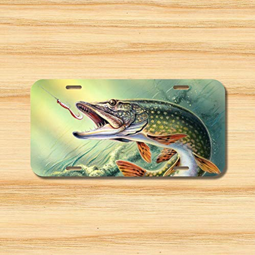 Pike License Plate Vehicle Auto Tag Fishing Lake Deep Boat Pole Fish Novelty Accessories License Plate Art -