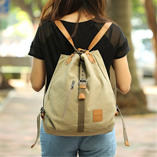 JOSEKO Fashion Shoulder Bag Rucksack, Canvas Multifunctional Casual Handbag Travel Backpack For Women Girls Ladies, Large Capacity