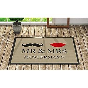 Fußmatte 'Mr. & Mrs. ' Inkl. Ihrem Nachnamen - Personalisierte Schmutzfangmatte, Fußmatte:50 x 70 cm