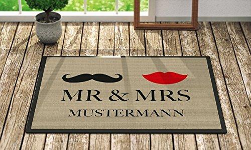 *Fußmatte 'Mr. & Mrs. ' Inkl. Ihrem Nachnamen – Personalisierte Schmutzfangmatte, Fußmatte:60 x 40 cm*