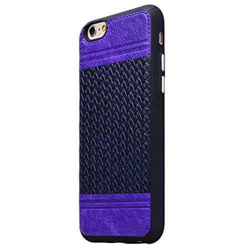 HB-Int Hülle für iPhone 6 / 6S Handytasche Weben Muster Silikon Weich Schutzhülle Nähen mit PU Leder Etui Schale Protective Back Case - Royal Blau Lila / Royal Blau