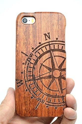 RoseFlower® Luxus Holz Schutzhülle für iPhone SE/iPhone 5S / iPhone 5 (10,2 cm (4 Zoll) - Rosenholz Kompass - Natürliche Handgemachte Holzhülle Hülle Handytasche Handy Case Cover