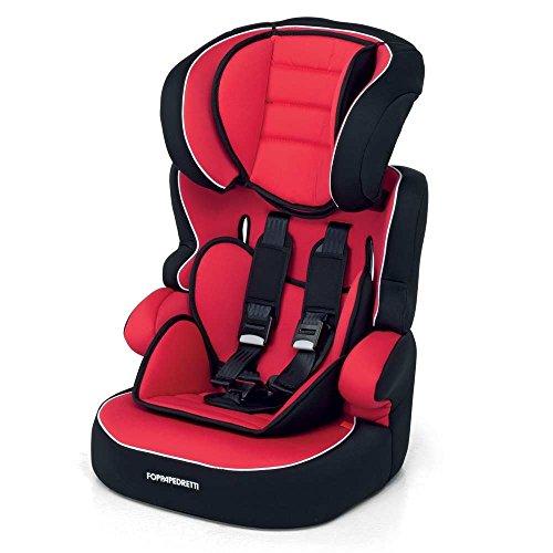 Foppapedretti Babyroad Seggiolino Auto, Rosso Rouge, Gruppo 1-2-3 (9-36 Kg) per bambini da 9 mesi a 12 anni circa
