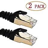 Cable de Ethernet, Vandesail reforzado–Cable de conexión CAT7SSTP con conectores RJ45LAN red Cable Oro 5m para conmutador/Router/módem/panel de conexiones