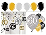 Feste Feiern Geburtstagsdeko Zum 60 Geburtstag I 24 Teile Spirale Deckenhänger Luftballons Gold Schwarz Silber Party Deko Set Happy Birthday
