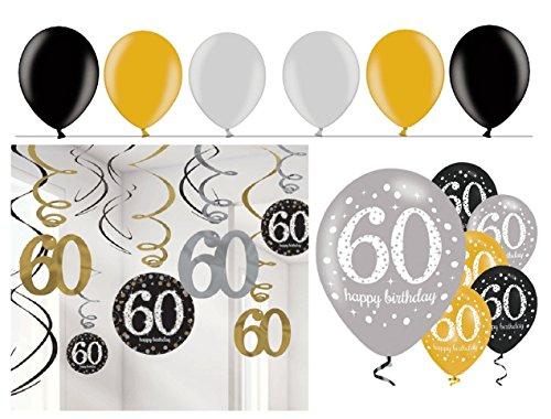 Feste Feiern Geburtstagsdeko 60. Geburtstag I 24 Teile Deko-Set Spirale Swirl Girlande Luftballons Gold Schwarz Silber Party Deko Happy Birthday 60 (Schwarz Und Silber 60. Geburtstag Dekorationen)