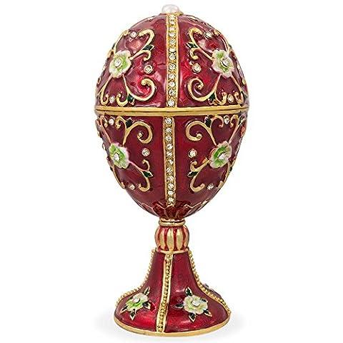 10,8cm Vert Fleurs sur émail rouge Faberge inspiré œufs de (Smalto Jeweled Trinket)