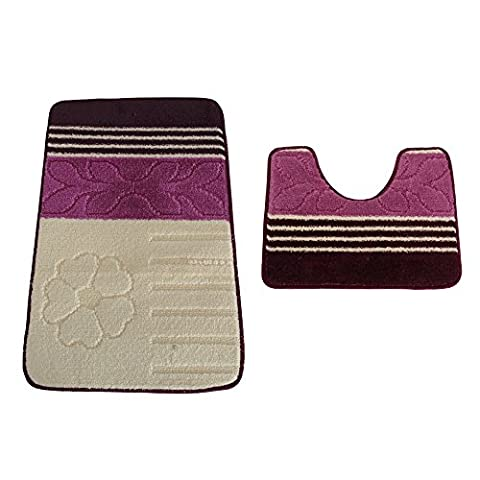 2 Piece Leaf, Flower & Stripe Pattern Design Bath & Pedestal Bathroom Mat Set (50cm x 80cm) (Cream/Purple)