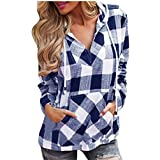 Save 45%~Clearance !!! YANG YI,Women's Casual Autumn Plaid V Neck Long Sleeves Hoodie Tops T-Shirts
