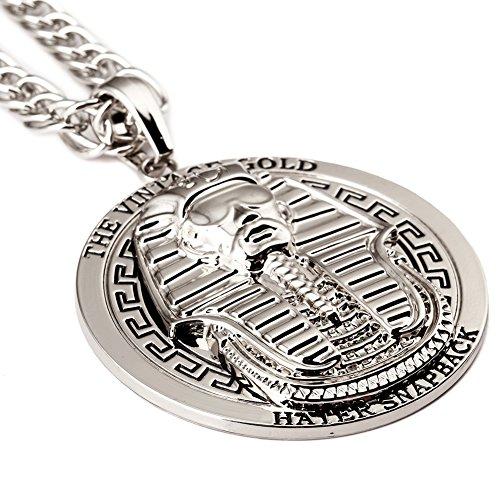 Para hombre Vintage de bañados en oro 18K colgante Charm de Egipto Faraón King Oro Collares & colgante hiphop Jewelry