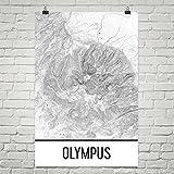 Modern Map Art Der Olymp Druck, Mt. Olympus Griechenland Poster, Griechenland Karte 24' X 36'