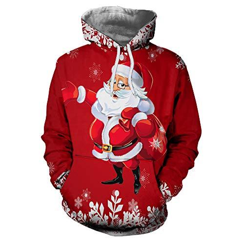 SEWORLD Weihnachten Christmas Herren Männer Herbst Winter Weihnachten Drucken Langarm Mit Kapuze Sweatshirt Top Bluse(X1-b-rot,EU-50/CN-XXL)
