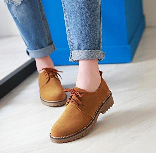 OL Oxford Lace-up Schuhe Round-Toe Low Heel Frauen Casual Hochzeit Büros Vintage Schuhe Europa Größe Customized Biger Größe 34-39 Yellow
