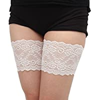 Tuopuda Women 1 Pair Elastic Lace Thigh Bands with Anti Slip Silicone, Prevent Rubbing and Chafing