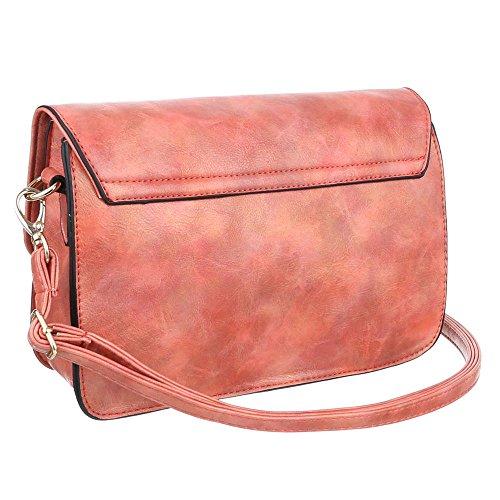 Damen Tasche, Schultertasche, Kleine Used Optik Umhängetasche, Kunstleder, TA-6160-29 Coral Rot