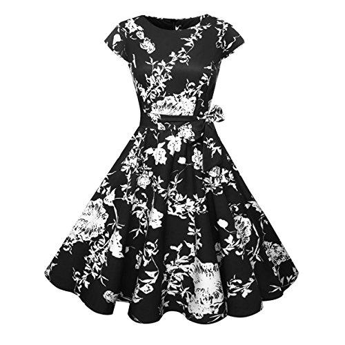 o ❤️ 50s Vintage Rockabilly Retro Pflaumenblüte Rose Blume Drucken Hepburn Stil Nach Dem U-Ausschnitt mit Kurzarm Kleid Schwingen Cocktailkleid (Schwarz ❤️, M) (Herren 50er Jahre Kleidung)