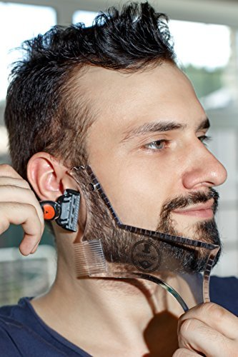 Beard Shaping Tool Trimming Template – Sharp, Crisp and Professional Cuts – Neck, Cheek Line or Sideburns Guide – Transparent Multifunctional Shaving Template or Stencil – Built-in Comb