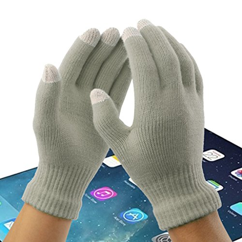 Generic Official Touch Screen Gloves 3 Touch Screen Fingers SmartPhone Tablet Winter Warmer Knitted Mittens - gray, One Size