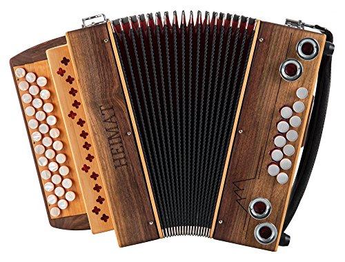Heimat 3/II Harmonika Bb-Es-As Nuss (3-reihig, 2-chörig, aus Walnuss mit Holzverdeck, X-Bass, 12 Helikon-Bässe, inkl. Trageriemen, Balgschoner und Koffer) Walnuss
