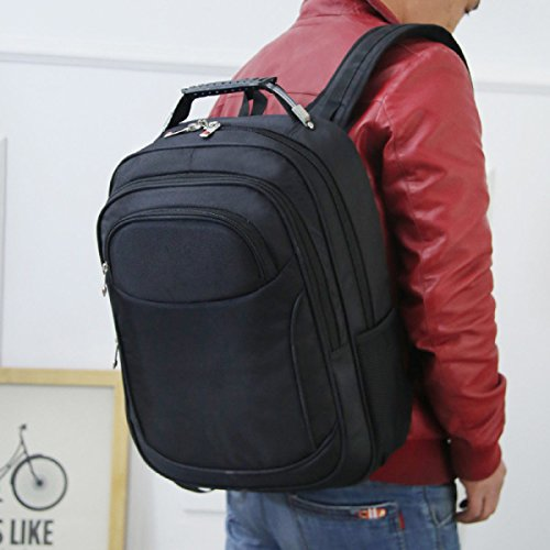 Multifunktionale Nylon Laptop Rucksack Schulter Tasche Uni Tasche Black